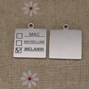 Image 4 - Ladyfun Anpassbare Edelstahl Charme MAC Anhänger Melanin Make Up Mac Maybelline Melanin Charms Für DIY Schmuck Machen