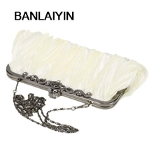 WholeTide 10* Satin Pleat Ivory /Party Clutch Handbag Rhinestones Style 010