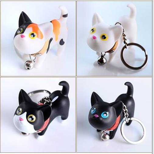 Милый мультфильм котенок щенок игрушки кошки 3D Frech бульдог Pet брелок Для женщин кожаный ремешок металлический брелок цепи автомобиль мешок ...