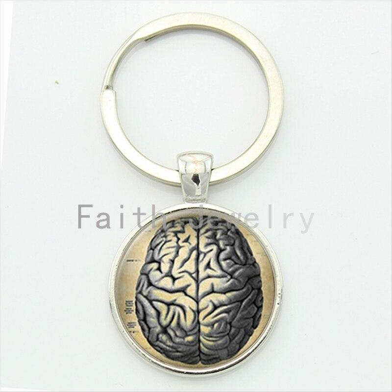 Round Glass Metal Bezel Alloy Jewelry Human Anatomy Brain KeyChain Weird Cool font b Science b