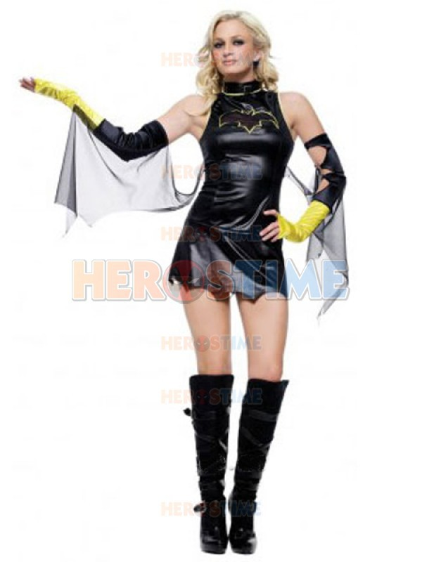 Black Batgirl Costume Shiny Metallic DC Comics Batgirl Superhero Costume Full body Zentai Suit Free Shipping