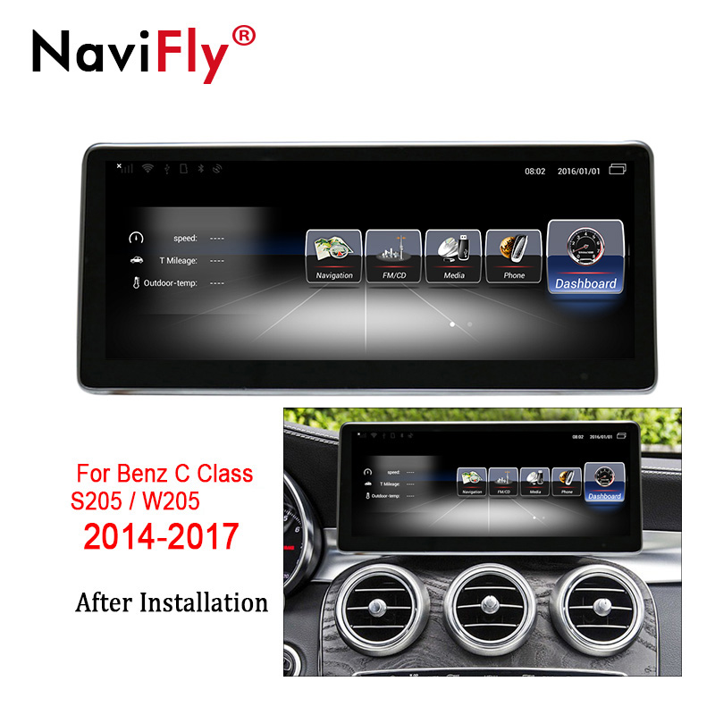 NaviFly 3+32 Android 7.1 car GPS navigation multimedia player for Mercedes Benz C Class S205 W205 2014-2017 Audio stereo 4G LTE