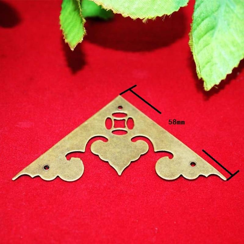 купить Brass Furniture Corners Triangle Fillet Gift Upscale Decorative Sheet Copper Purses Gusset,Anceient Flower Heart Corner,58mm дешево