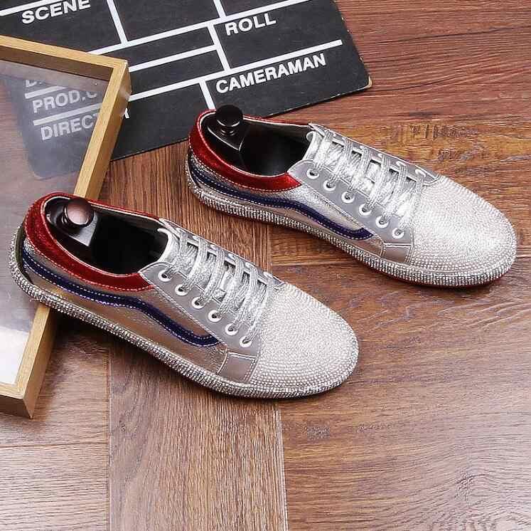 2018 nieuwe zilver Goud klinknagel mannen handgemaakte loafers lace-up falts casual schoenen Fashion Party Banket mannen sportschoenen
