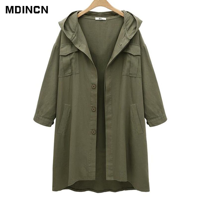 High quality Slim women   Trench   Coat Solid color long sleeves loose large size casual hooded   Trench   LR3