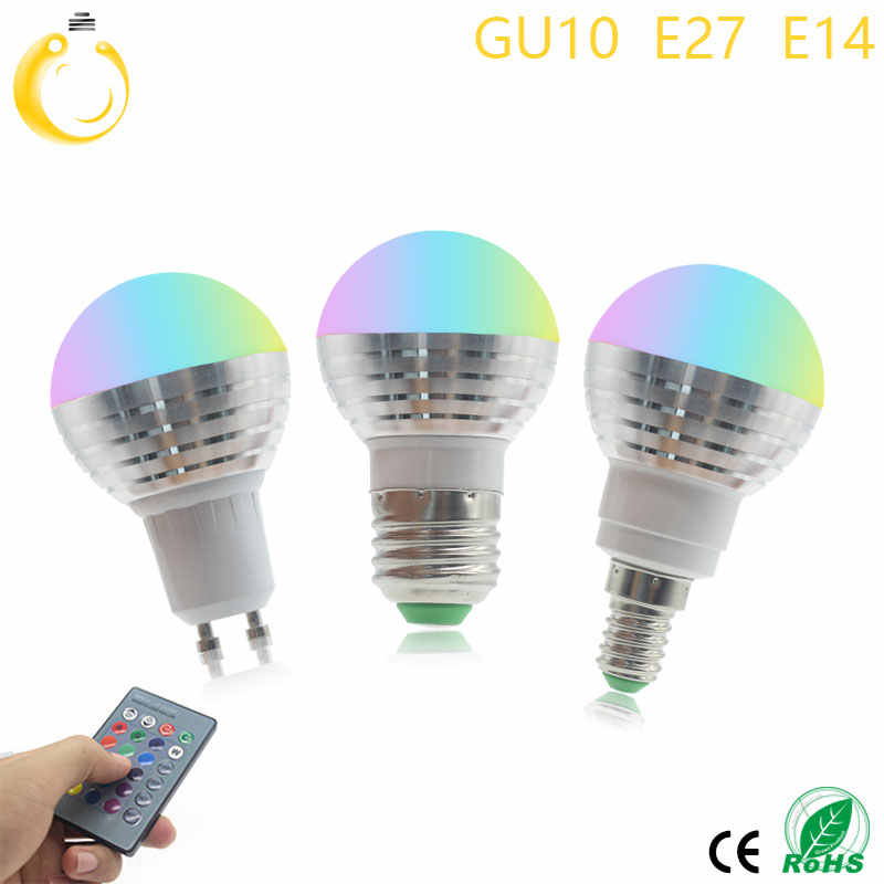 E27 E14 GU10 LED RGB Bulb lamp AC110V 220V 5W Spotlight dimmable magic Holiday RGB lighting+IR Remote Control 16 colors