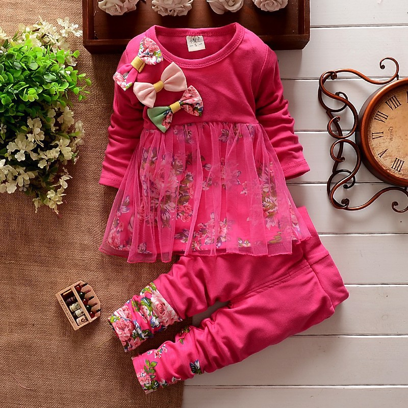 2018 European And American Spring And Autumn New Girls Set Bow Floral Mesh Long sleeved Shirt