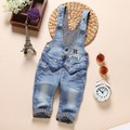 1-2.5Y new 2016 autumn girls boys denim overall baby girl jeans pant girls overalls children clothing