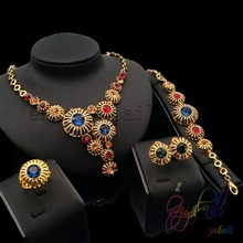 Free Shipping Fashion Colorful Stone Shell Dubai Pure Gold Color Lovely Wedding Party Jewelry Rhinestones Fashion