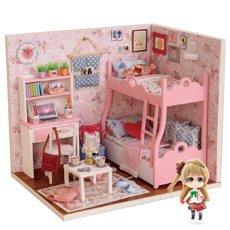 Handmade Doll House Furniture Kit DIY Mini Dollhouse Wooden Toy for Kids Gifts#Y