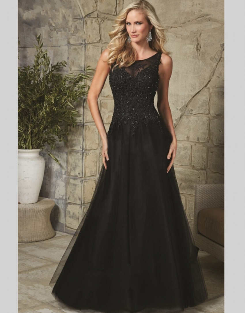 Vestido Social Long Black Evening Dresses Beaded Lace Elegant ...