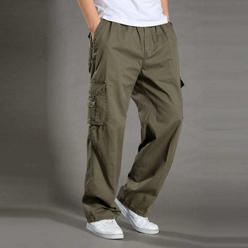 Spring Summer Thin Cargo Pants Men's Casual Loose Trousers Elastic Waist With Multi Pocket Army Green Plus Size XL-6XL