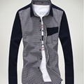 Hot sell Men solid gentlemen full sleeve clothes formal Dress casual shirts plaid patchwork brand turn-down collar shirts tops