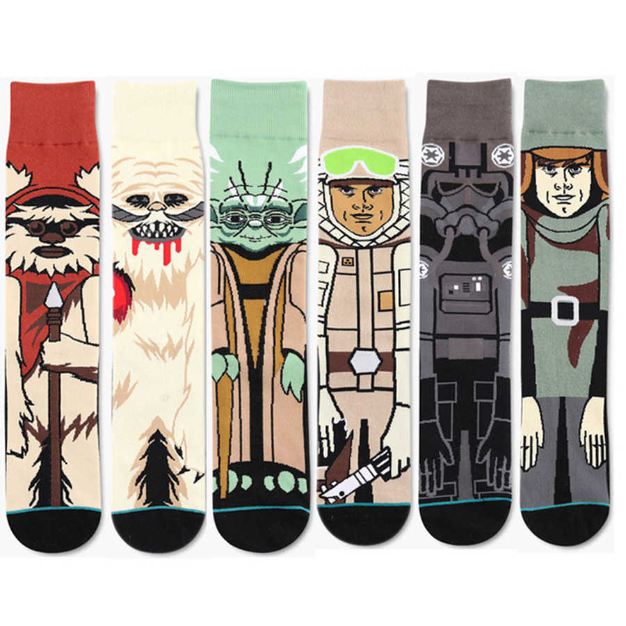 2018 New Men Novelty Star Wars Cotton Stockings Planet Battle Vader Socks Funny Tide Long Socks Happy Lovers Sox Gift Mens Socks