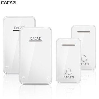 Cacazi, беспроводной дверной звонок с автономным питанием водонепроницаемый 2 передатчик 2 приемника без батареи требуется домашний звонок СШ... >> CACAZI Official Store