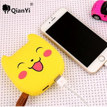 QianYi 10000 mAh Pikachus Energienbank Glückliches Gesicht Cartoon Bewegliche Externe Unterstützungsbatterie Ladegerät Powerbank Für Smartphone