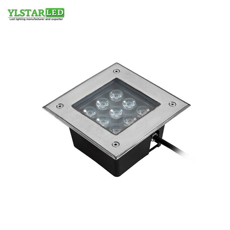 YLSTAR Free Shipping AC85-265V IP67 9W square Buried Lamp Inground Lighting Outdoor LED Underground Lamp Light Garden Light