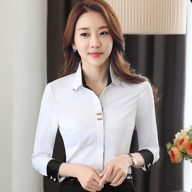 Fashion Clothes OL Women Long Sleeve Shirt Black White Slim Patchwork Sequined Cotton Blouse Office Ladies Plus Size Formal Tops 4