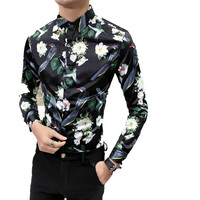 2018 New Spring Autumn Print Features Shirts Men Casual Shirt Long Sleeve Casual Slim Fit Male