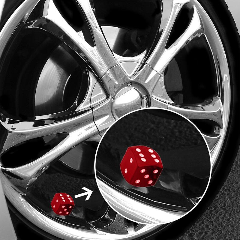 TOMALL 4pcs Tyre Valve Stem Caps for Universal Car Motorcycle Bike Aluminum Alloy Dice Style Blue