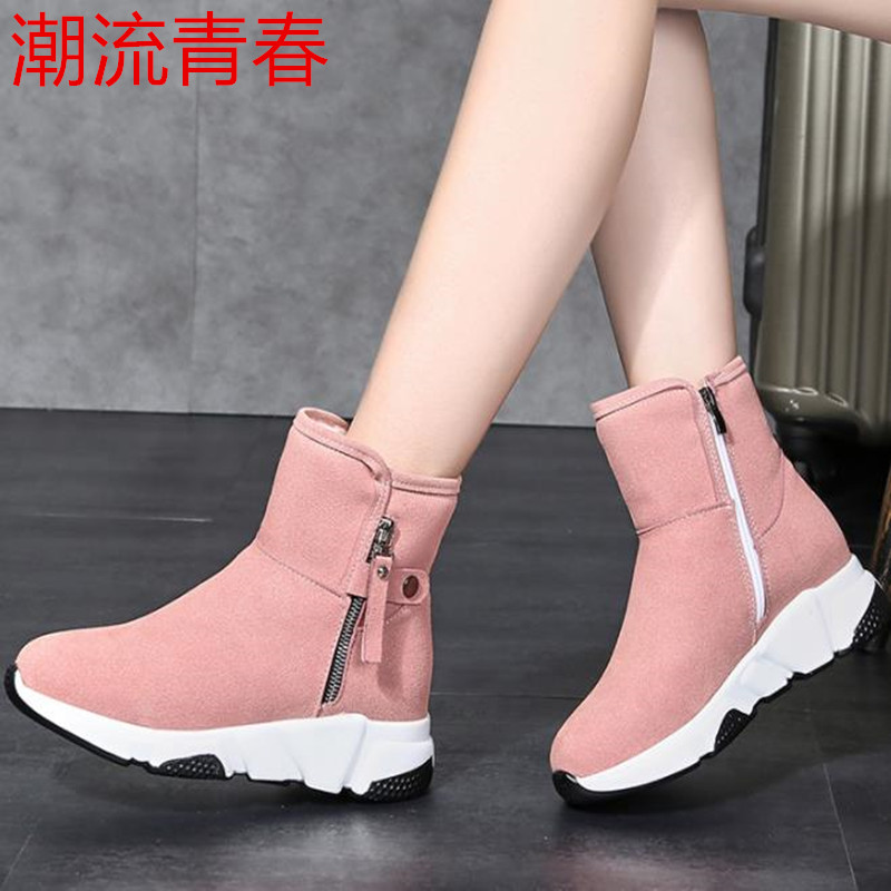 New Fashion Women Boots Snow Boots Sneakers Plush High Top Velvet Cotton Shoes Warm Lace-up Non-slip boots 42
