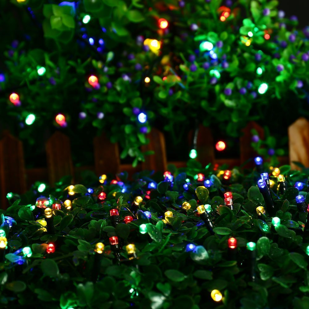 umiwe 50 led solar flower blossom fairy string lights garden 23 ft waterproof outdoor xmas fairy