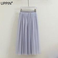 82f8b14a75 UPPIN High Waist Tulle Skirt Women 2018 Summer Party Elastic Waist Long  Skirt Girl Princess Skirt