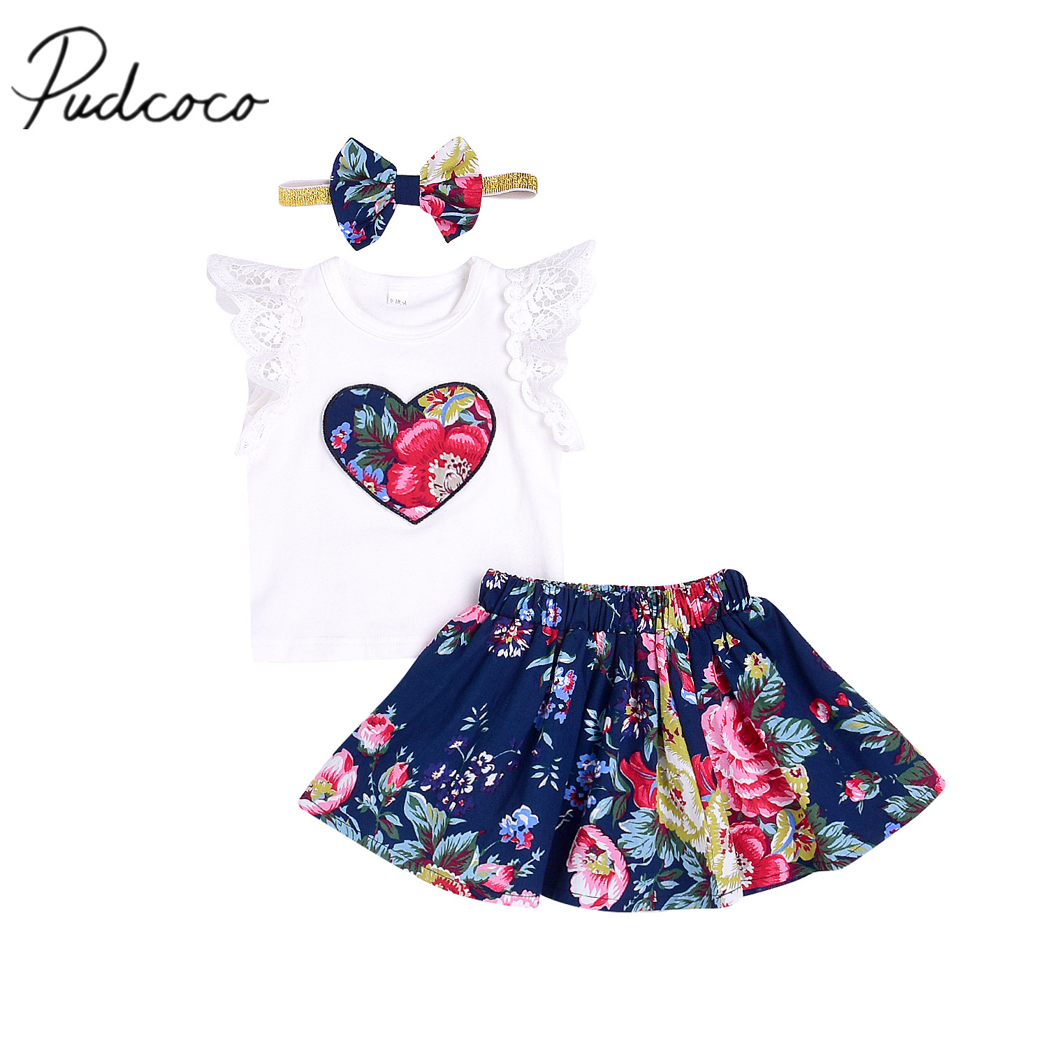 2018 Brand New Summer Toddler Infant Child Kids Baby Girls T-shirt Tops Skirt Headband 3Pcs Outfits Set Floral Clothes Oufits