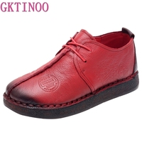 4b4cc29852 GKTINOO Fashion Retro Hand Sewing Shoes Women Flats Genuine Leather Soft  Bottom Women Shoes Soft Comfortable