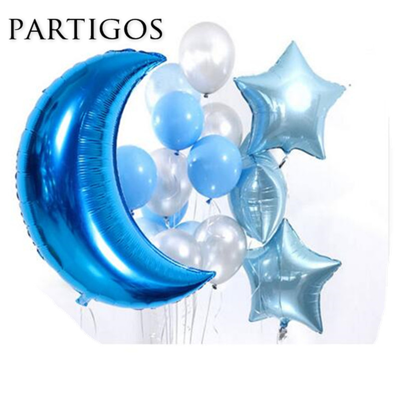 16pcs/lot Big Moon Star Balloons 3.2g Latex Balloon Wedding Marriage Birthday Party Decorations Baby Shower Foil Helium balls