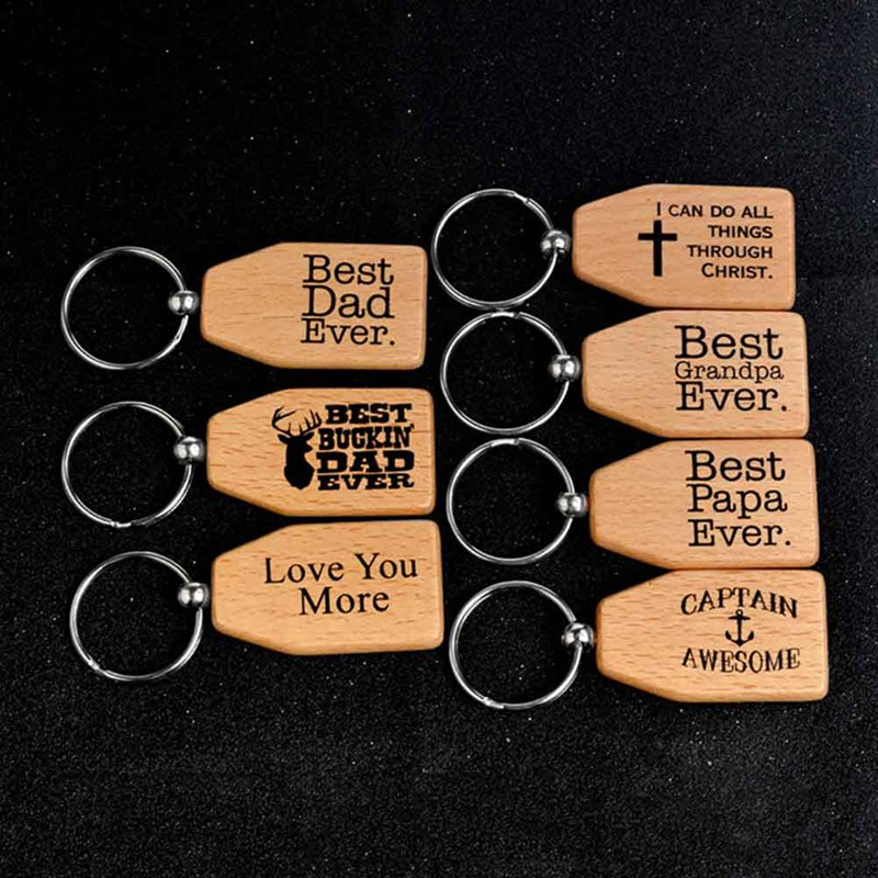 Best Dad Grandpa Ever I Can Do All Things Through Christ Wood Keychain Key Tag Gift For Dad Man