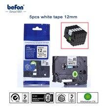 5 шт./лот Совместимость для Brother P-touch P сенсорным принтера этикеток Клейкие ленты Tze231 TZe 231 черного цвета на белом 12 мм принтер ленты оптовая продажа