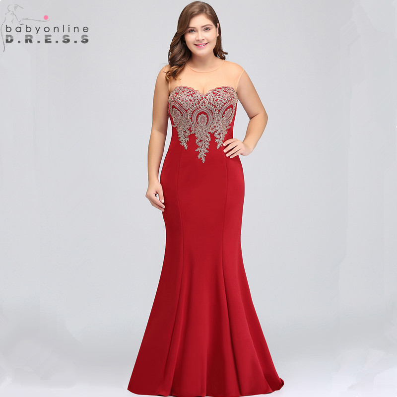 Robe de Soiree Plus Size Mermaid Lace Long Evening Dress Sexy Transparent Back Evening Gown Vestido