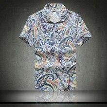 2016 Мода Мужская Гавайская Рубашка С Коротким Рукавом Быстрое высыхание Плюс размер Азиатский Размер M-5XL Летние Случайные Цветочный Пляж Футболки мужчины