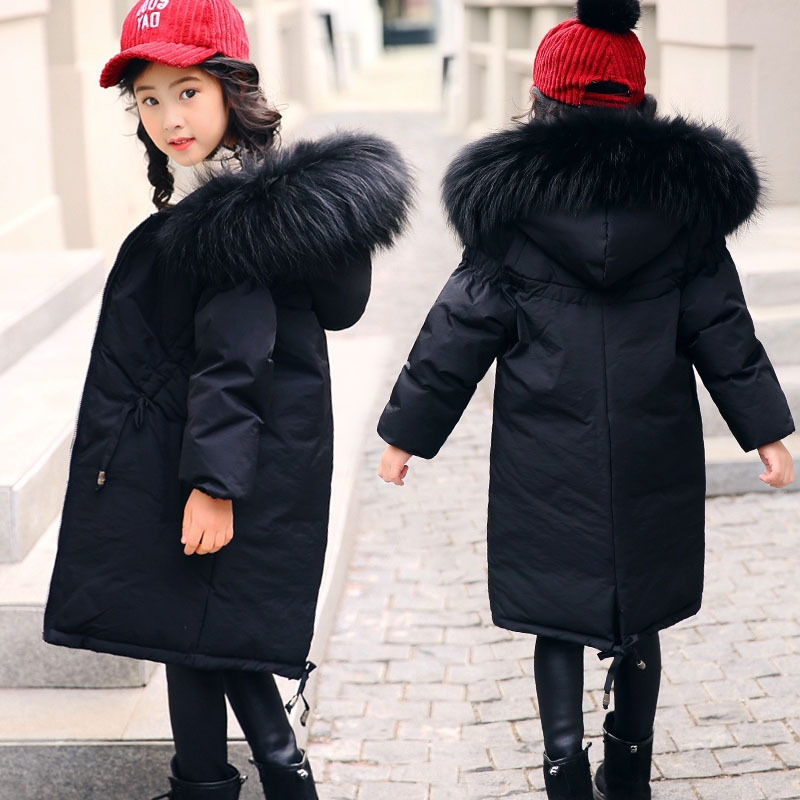 New High Quality Children Winter Jacket Girl Winter Coat Kids Warm Thick Fur Collar Hooded Long Down Coats for Teenage 5-14Y 5 14y high quality boys thick down jacket 2016 new winter children long sections warm coat clothing boys hooded down outerwear