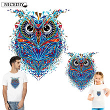 Nicediy Colorful Owl Patches Iron On Clothes Stickers Print Heat Transfer By Household Irons Applique Washable Badge