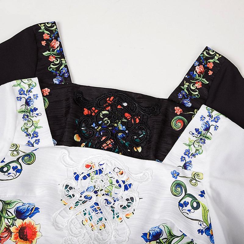Broderie Dres Carré Robe Courtes Imprimé Robes Col D'été Bohème À Black white 2018 Spectacle De Station Femmes Moyen Manches Européenne XTqfPnw