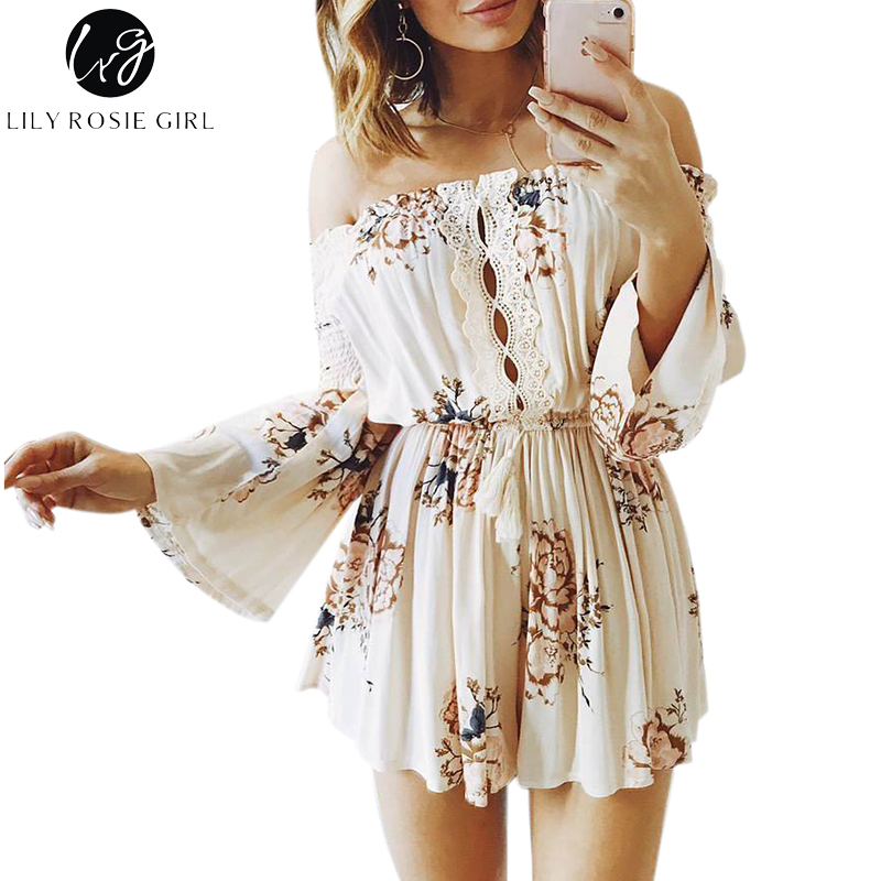 Lily Rosie Girl Off Shoulder Boho Floral Print Playsuits Women Sexy Summer Lace Short Rompers Party   Jumpsuits   Overalls