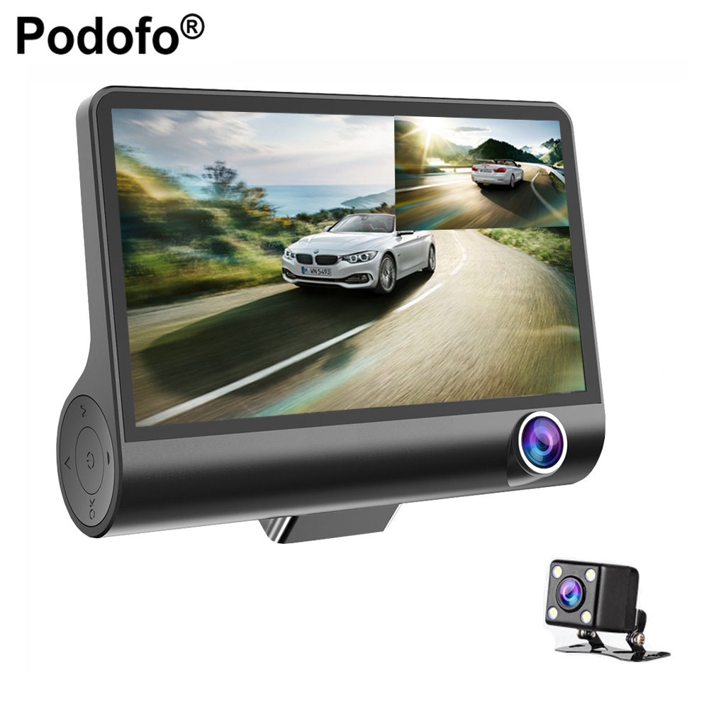 Podofo 4.0 DVR Carro Câmera Do Carro Full HD 1080 P Traço Cam 170 Degree Wide Angle Dual Lens Night Vision G-sensor de Ciclo de Gravação de Vídeo