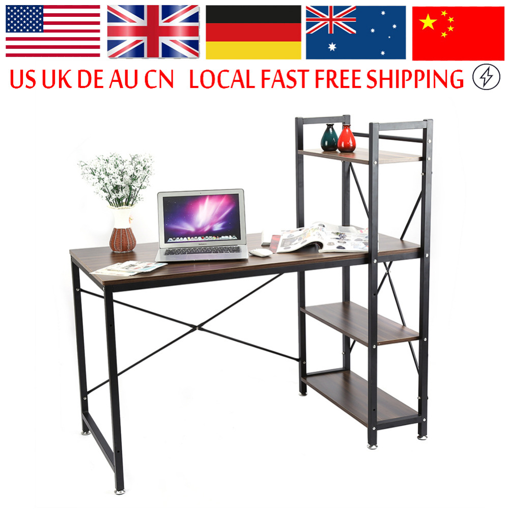 home office workstation desk. multifuction computer table storage shelving book shelf steel frame notebook desk for home office workstation
