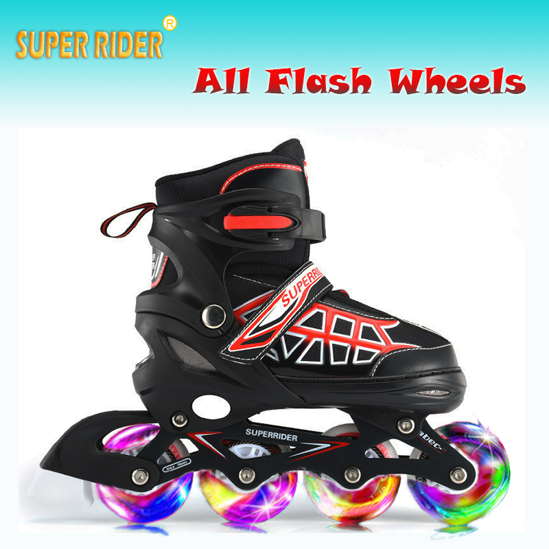 Super Rider Inline Speed Skating Shoes Children adult Adjustable Size Roller Skates Flash Inline Racing Skates