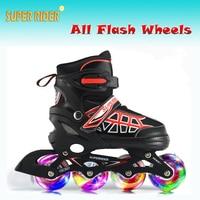 Super Rider Inline Speed Skating Shoes,Children adult Adjustable Size Roller Skates,Flash Inline Racing Skates 4 Flash Wheels