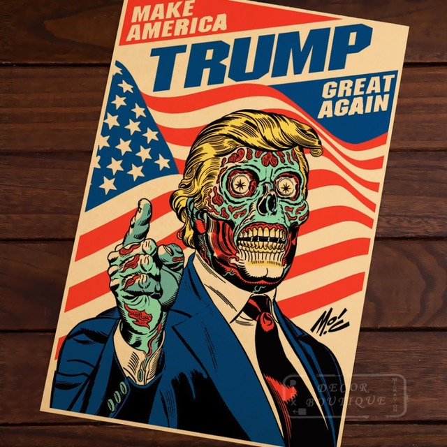 Skull Cool Funny Robot Donald Trump Make America Great Again Vintage Decorative Poster DIY Wall Stickers Posters Home Decor Gift