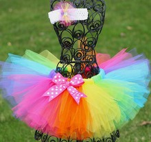 Rainbow Color Baby Girls Tutu Skirts Infant 100% Handmade Fluffy Tulle Pettiskirt with Dots Bow+Flower Headband Kids Party Tutus