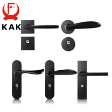 купить KAK Mute Black Door Lock Aluminium Alloy Interior Door Lock Handle Modern Anti-theft Room Wood Door Lock Furniture Door Hardware дешево