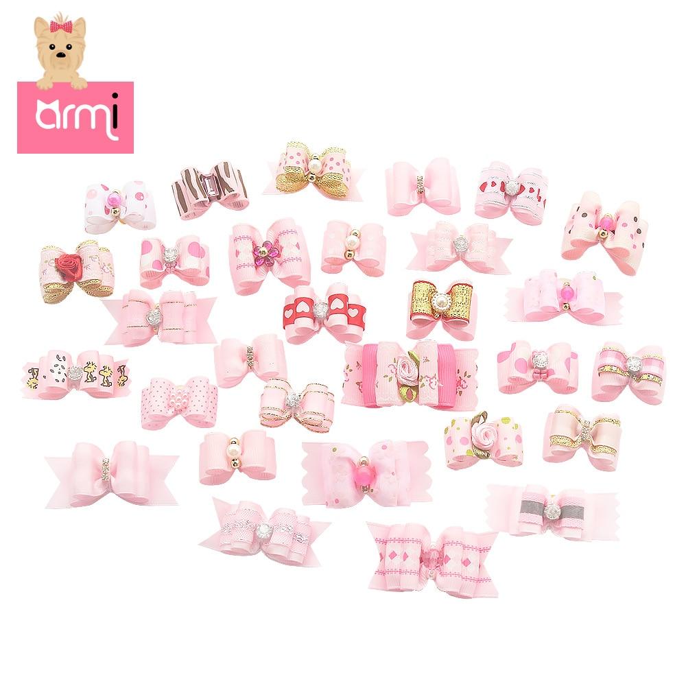 2/10 pces artesanal cão arco grooming arcos para filhote de cachorro pequenos cães acessórios para o cabelo produtos boutique 6020001 cor festa