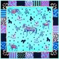 Twill Шелковый Шарф Евро Флуоресценции Лошадь Прекрасный Звезда Печати Шелковый Шарф 130*130 см Марка Качества Подарков Мода большие Платки
