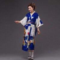 6 Color Estilo de La Tradición Japonesa Vestido de Mujer Vintage Kimono Yukata Kaftan Vestido De Kimono Japonés Tradicional