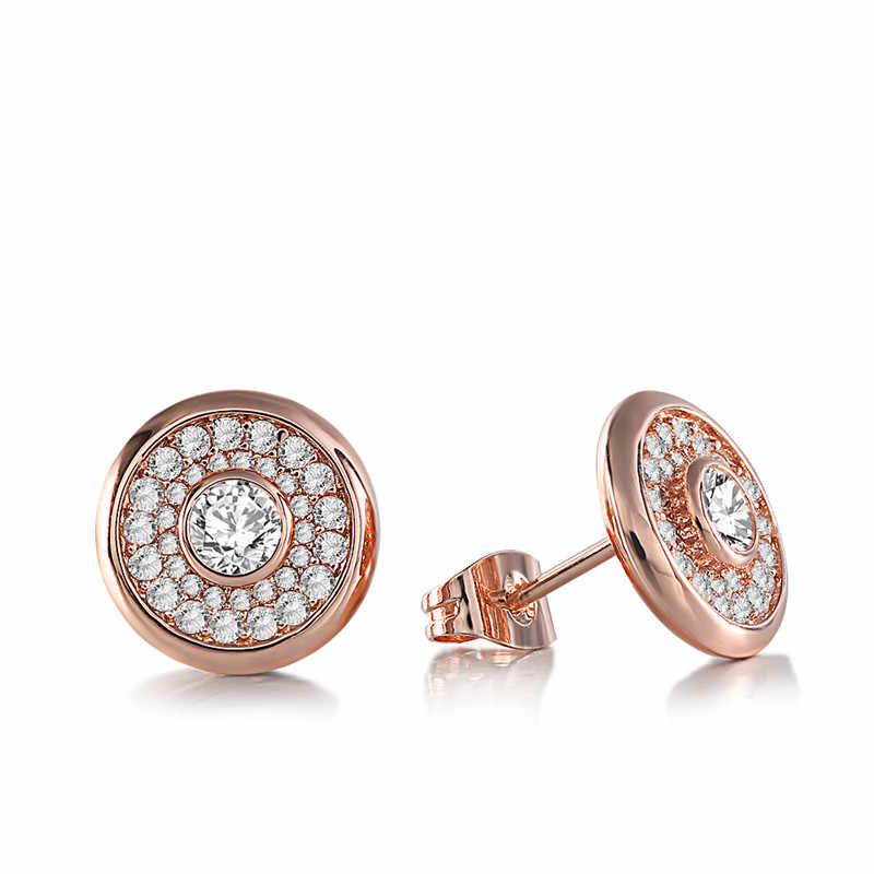 Gs Earrings For Women Rose Gold Rhinestone Earring Zircon Stone Round Shaped Austrian Crystal Earrings Wedding Jewelry Girl R4 Stud Earrings Aliexpress