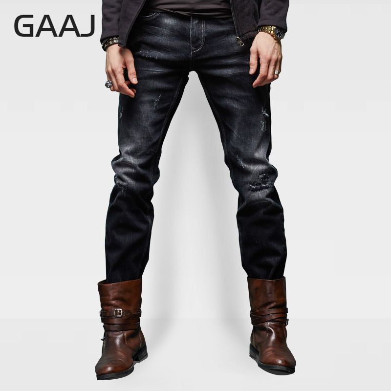 Men's Clothing Apprehensive Professional Jeans Store Men Jeans Mens New Top Quality Stretch Distressed Hole Black Straight Jeans For Man Original